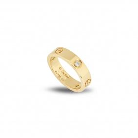 Cartier Yellow Gold Half Diamond Love Ring Size 52 B4032400